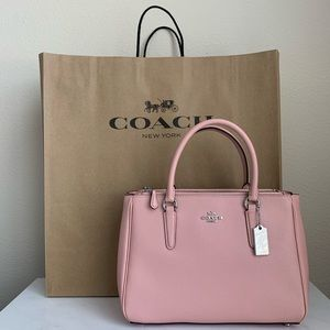 New Coach Pink Leather Surrey Carryall Satchel